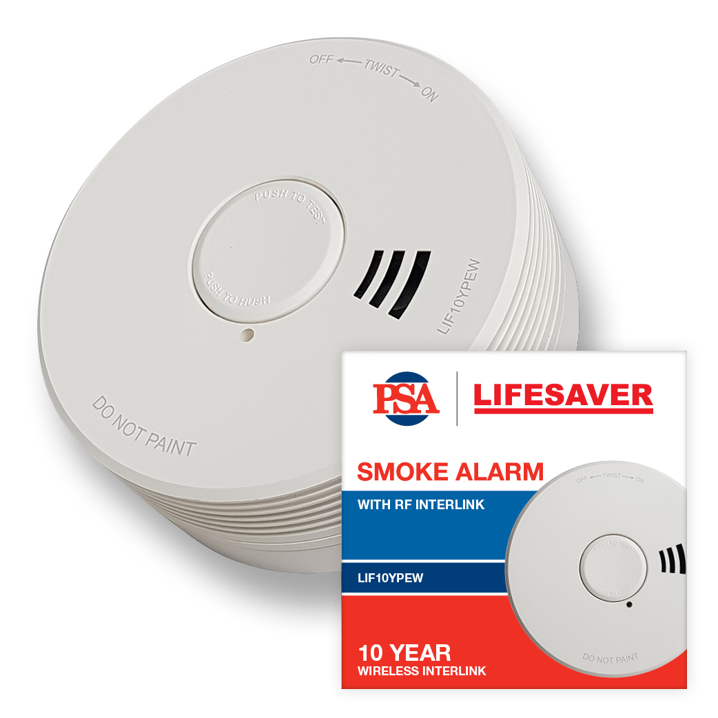 The LIF10YPEW is a wireless smoke alarm using photoelectric technology and powered by a sealed 10 year lithium battery.