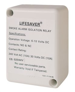 A smoke alarm isolation relay used to control auxiliary devices, security alarm panels and fire indication panels.