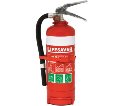 The LIF25ABE 2.5kg dry powder fire extinguisher is suitable for use on Class A, B and E fires.