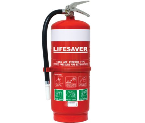 The LIF90ABE 9.0kg dry powder fire extinguisher is suitable for use on Class A, B and E fires.