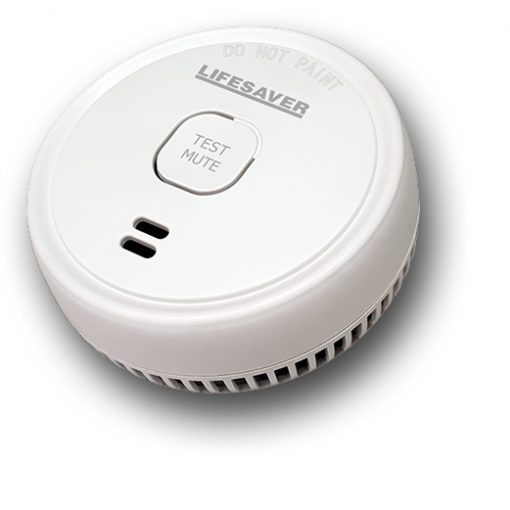 The LIFPE9M is a low profile 9VDC battery powered photoelectric smoke alarm with red LED indicators and a test & mute button.