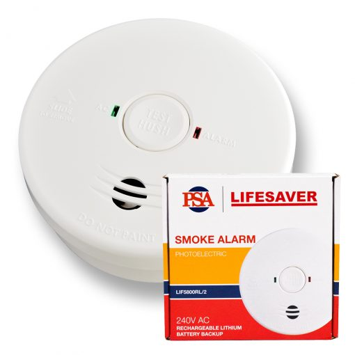 The LIF5800RL/2 240VAC is a mains powered photoelectric smoke alarm with rechargeable lithium back-up battery.