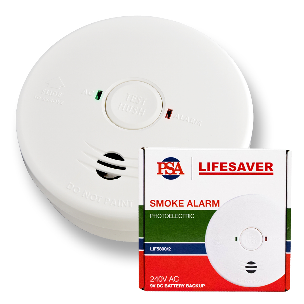 The LIF5800/2 240VAC is a mains powered photoelectric smoke alarm with 9VDC battery back-up.